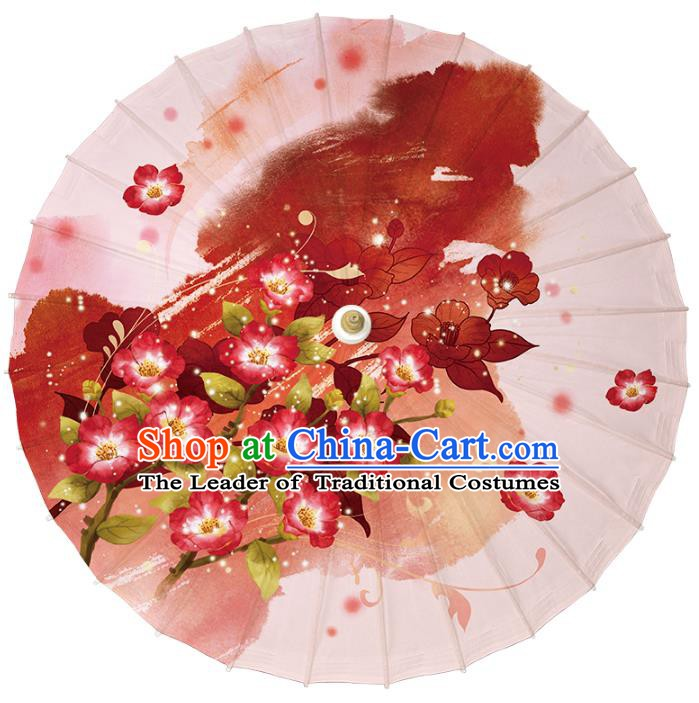 Chinese Traditional Artware Dance Umbrella Printing Flowers Paper Umbrellas Oil-paper Umbrella Handmade Umbrella