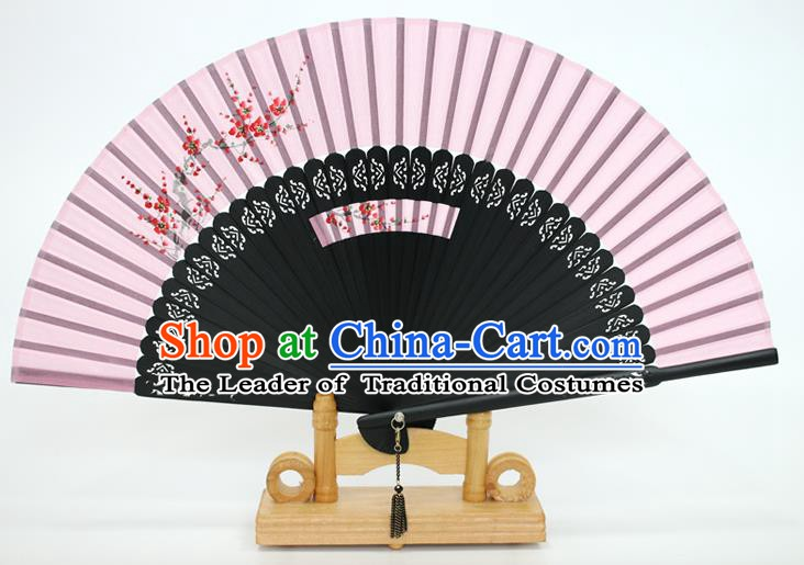Chinese Traditional Artware Handmade Folding Fans Printing Plum Blossom Pink Silk Fans Accordion