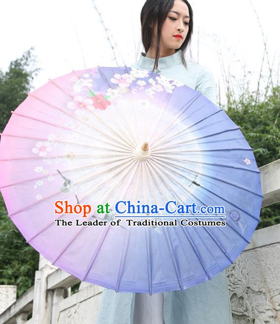 Chinese Traditional Artware Paper Umbrellas Printing Purple Oil-paper Umbrella Handmade Umbrella