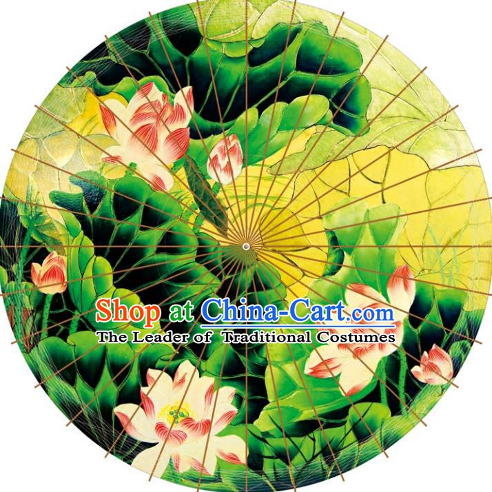 Chinese Traditional Artware Paper Umbrellas Printing Lotus Leaf Oil-paper Umbrella Handmade Umbrella