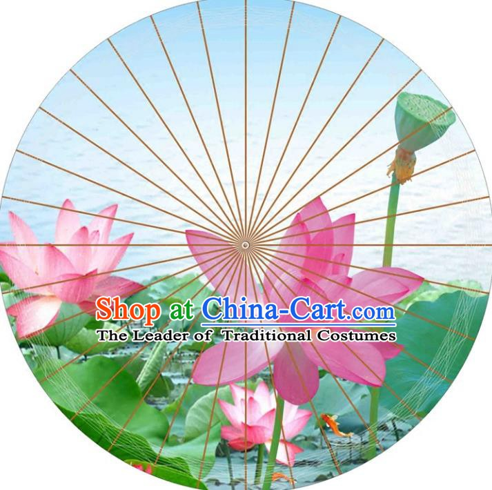 Chinese Traditional Artware Paper Umbrellas Printing Lotus Flowers Blue Oil-paper Umbrella Handmade Umbrella