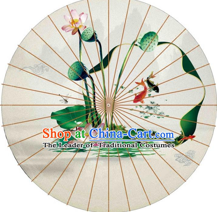 Chinese Traditional Artware Paper Umbrellas Printing Lotus Seedpod Oil-paper Umbrella Handmade Umbrella