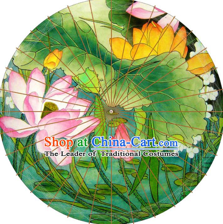Chinese Traditional Artware Green Paper Umbrellas Printing Lotus Flowers Oil-paper Umbrella Handmade Umbrella