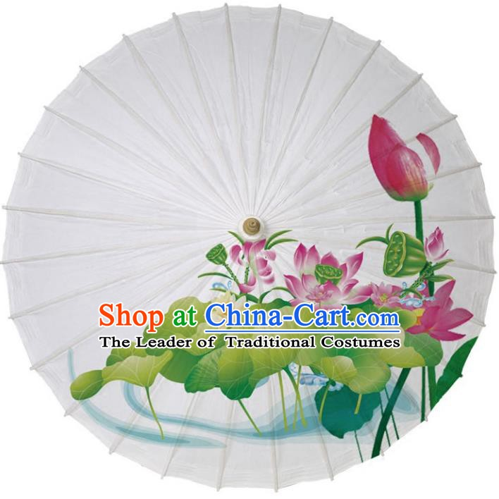 Chinese Traditional Artware Paper Umbrellas Printing Red Lotus Oil-paper Umbrella Handmade Umbrella