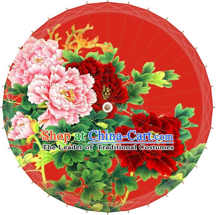 Chinese Traditional Artware Red Paper Umbrellas Printing Peony Wedding Oil-paper Umbrella Handmade Umbrella