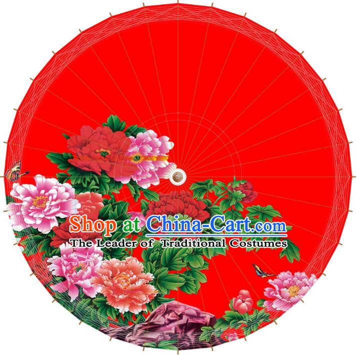 Chinese Traditional Artware Red Paper Umbrellas Printing Peony Flowers Wedding Oil-paper Umbrella Handmade Umbrella