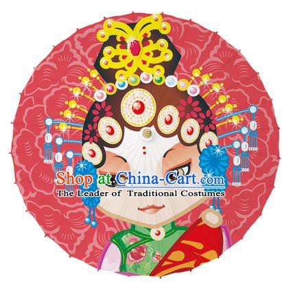 Chinese Traditional Artware Red Paper Umbrellas Printing Beijing Opera Diva Oil-paper Umbrella Handmade Umbrella