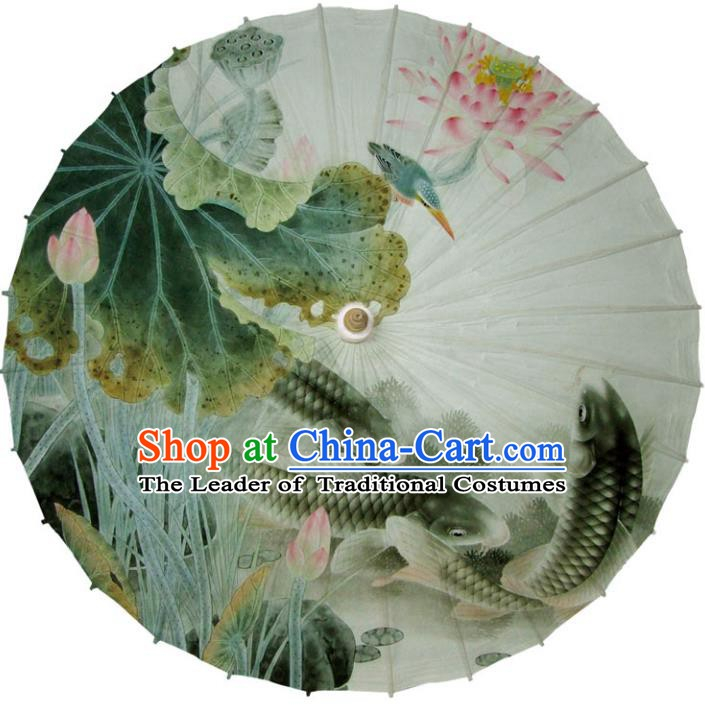 Chinese Traditional Artware White Paper Umbrellas Printing Lotus Fishes Oil-paper Umbrella Handmade Umbrella