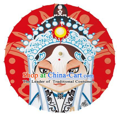 Chinese Traditional Artware Paper Umbrellas Printing Peking Opera Taoist Nun Oil-paper Umbrella Handmade Umbrella