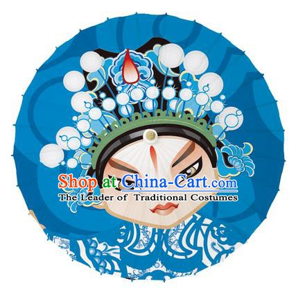 Chinese Traditional Artware Blue Paper Umbrellas Printing Peking Opera Takefu Oil-paper Umbrella Handmade Umbrella