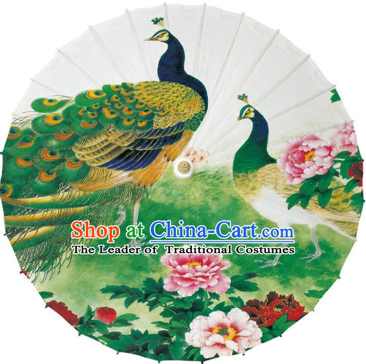 Chinese Traditional Artware Dance Umbrella Printing Peacock Peony Paper Umbrellas Oil-paper Umbrella Handmade Umbrella