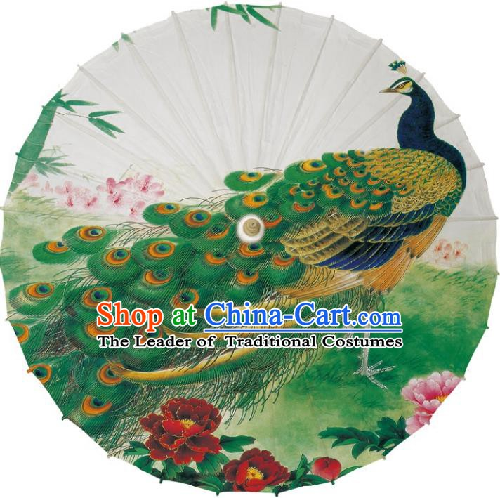 Chinese Traditional Artware Dance Umbrella Printing Green Peacock Paper Umbrellas Oil-paper Umbrella Handmade Umbrella