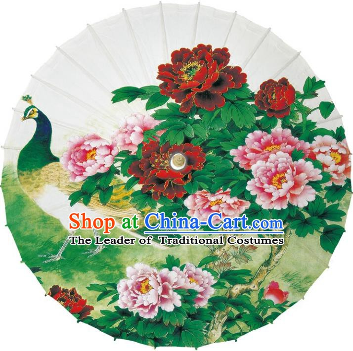 Chinese Traditional Artware Dance Umbrella Printing Flowers Peacock Paper Umbrellas Oil-paper Umbrella Handmade Umbrella