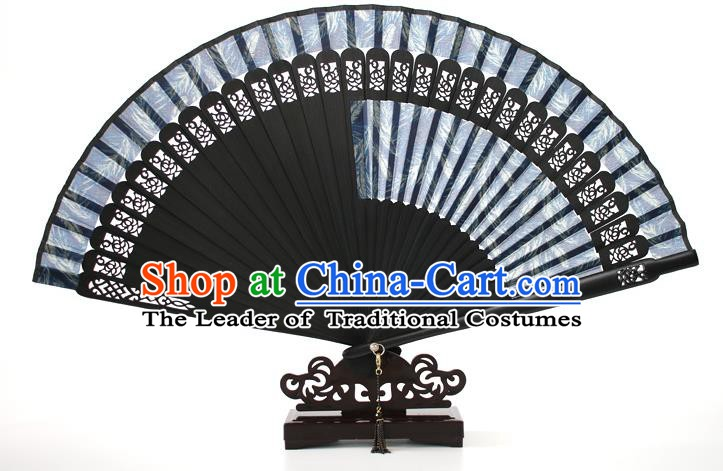 Chinese Traditional Artware Handmade Folding Fans Blue Silk Fans Accordion