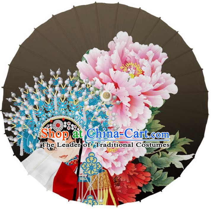 Chinese Traditional Artware Dance Umbrella Printing Peony Grey Paper Umbrellas Oil-paper Umbrella Handmade Umbrella