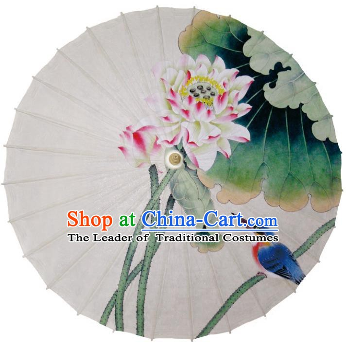 Chinese Traditional Artware Dance Umbrella Printing Lotus Flowers Paper Umbrellas Oil-paper Umbrella Handmade Umbrella