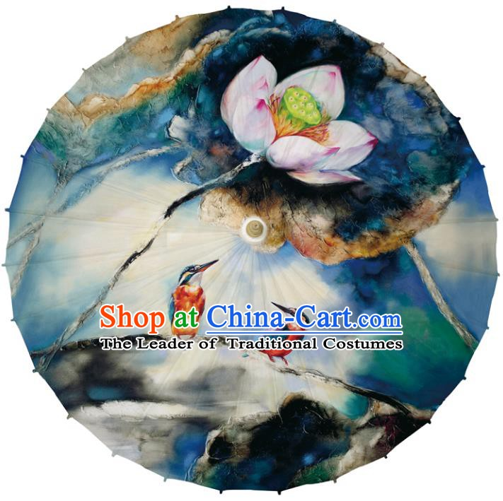 Chinese Traditional Artware Dance Umbrella Printing Lotus Blue Paper Umbrellas Oil-paper Umbrella Handmade Umbrella