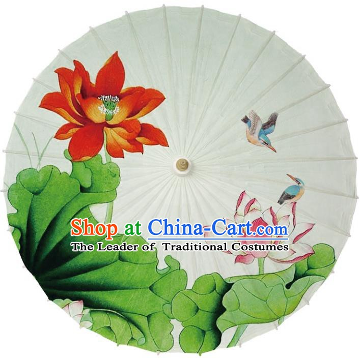 Chinese Traditional Artware Dance Umbrella Printing Lotus Beige Paper Umbrellas Oil-paper Umbrella Handmade Umbrella