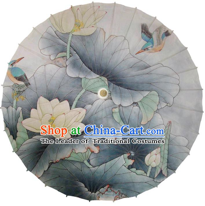 Chinese Traditional Artware Dance Umbrella Printing Lotus Grey Paper Umbrellas Oil-paper Umbrella Handmade Umbrella