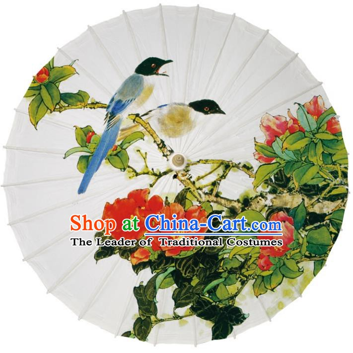 Chinese Traditional Artware Dance Umbrella Printing Peony Birds Paper Umbrellas Oil-paper Umbrella Handmade Umbrella