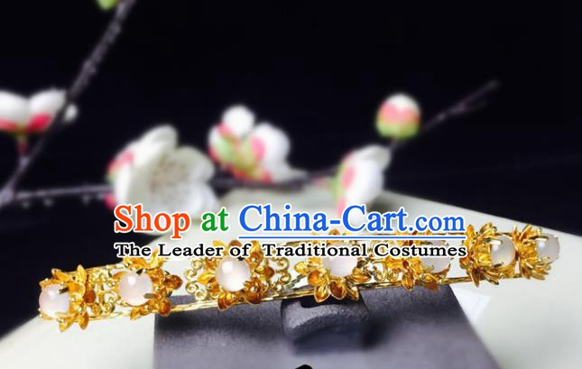 Chinese Handmade Classical Hair Accessories Golden Hairpins Hanfu Hair Stick for Women