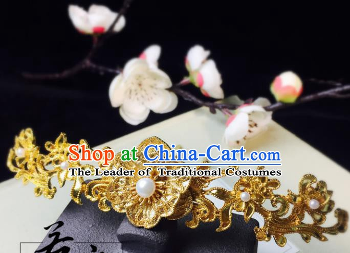 Chinese Handmade Classical Hair Accessories Golden Flowers Hairpins Hanfu Hair Stick for Women