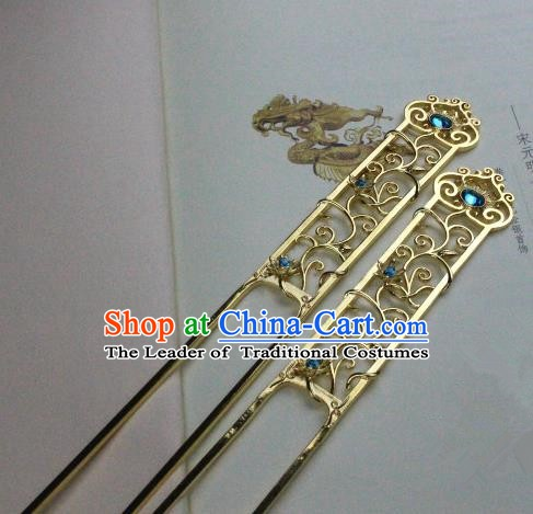 Chinese Handmade Classical Hair Accessories Hairpin Blue Crystal Golden Hair Stick Hanfu Hairpins for Women