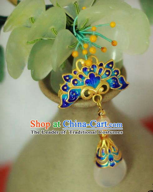 Chinese Handmade Classical Accessories Blueing Phoenix Breastpin Hanfu Brooch for Women