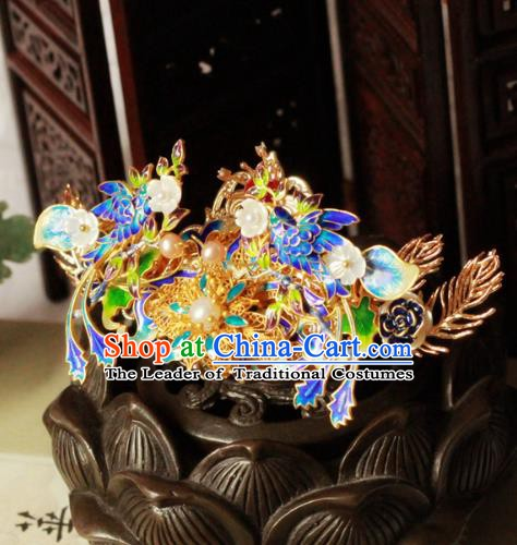 Chinese Handmade Classical Hair Accessories Hairpin Hair Stick Hanfu Blueing Phoenix Coronet for Women