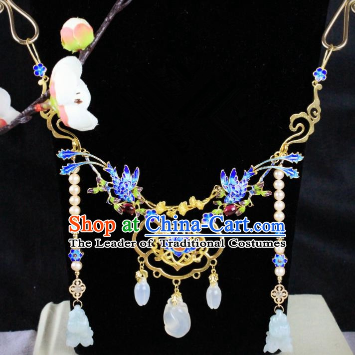 Chinese Handmade Classical Accessories Blueing Necklace Hanfu Tassel Necklet for Women