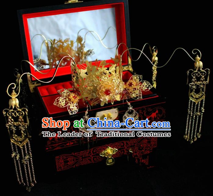 Chinese Handmade Classical Hair Accessories Hairpin Hair Stick Hanfu Golden Phoenix Coronet for Women