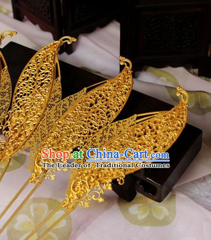 Chinese Handmade Classical Hair Accessories Wedding Hairpins Hanfu Golden Leaf Hairpin for Women