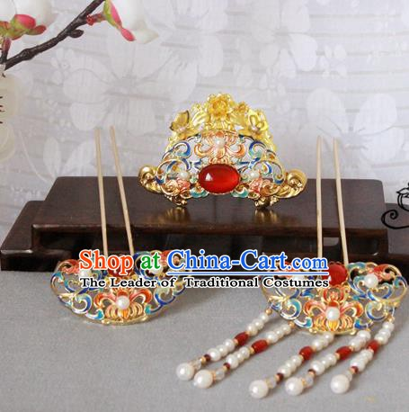 Chinese Handmade Classical Hair Accessories Wedding Hairpins Hanfu Tassel Step Shake for Women