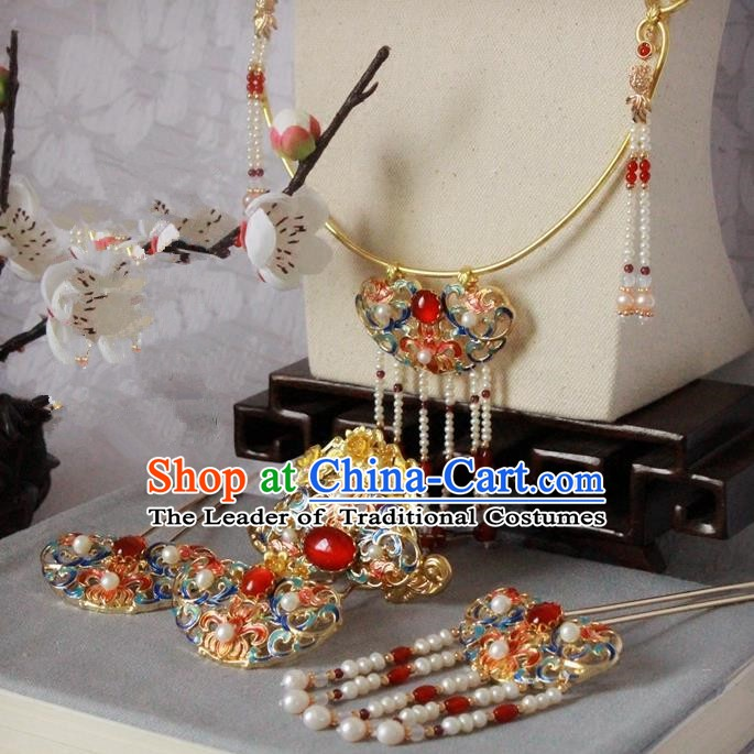 Chinese Handmade Classical Accessories Princess Blueing Necklace and Hairpins Complete Set for Women
