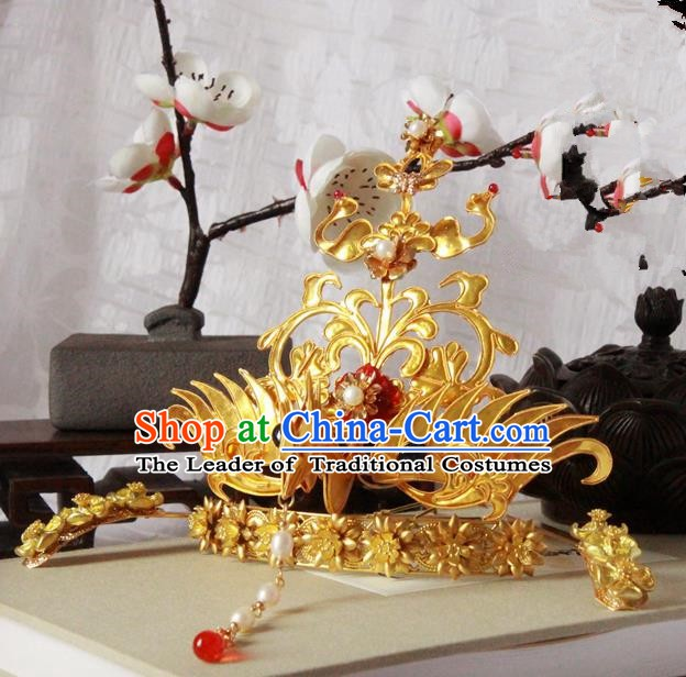 Chinese Handmade Classical Hair Accessories Wedding Hairpins Hanfu Golden Phoenix Coronet for Women