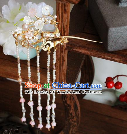 Chinese Handmade Classical Hair Accessories Wedding Tassel Hairpins Hanfu Step Shake for Women
