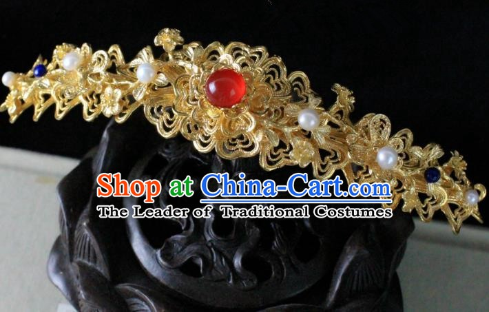 Chinese Handmade Classical Hair Accessories Wedding Hairpins Hanfu Golden Hair Clip for Women