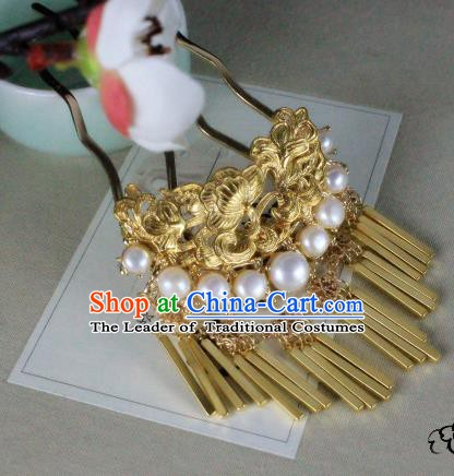 Chinese Handmade Classical Hair Accessories Wedding Pearls Hairpins Hanfu Golden Hair Clip for Women