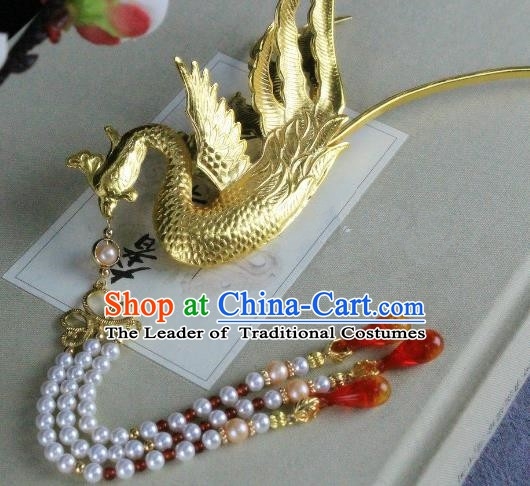 Chinese Handmade Classical Hair Accessories Wedding Hairpins Hanfu Hair Clip Phoenix Tassel Step Shake for Women