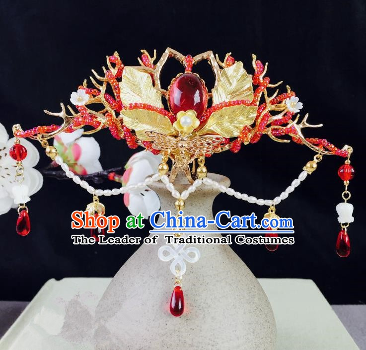 Chinese Handmade Classical Hair Accessories Wedding Phoenix Coronet Hairpins Hanfu Hair Clip for Women