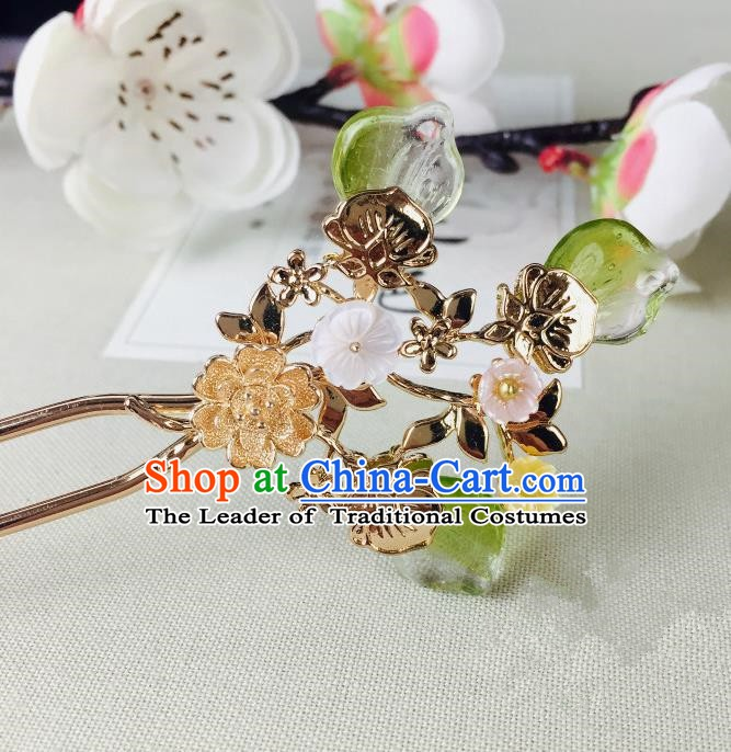 Chinese Handmade Classical Hair Accessories Wedding Shell Flowers Hair Stick Green Hairpins for Women