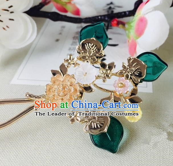 Chinese Handmade Classical Hair Accessories Wedding Shell Flowers Hair Stick Peacock Green Hairpins for Women