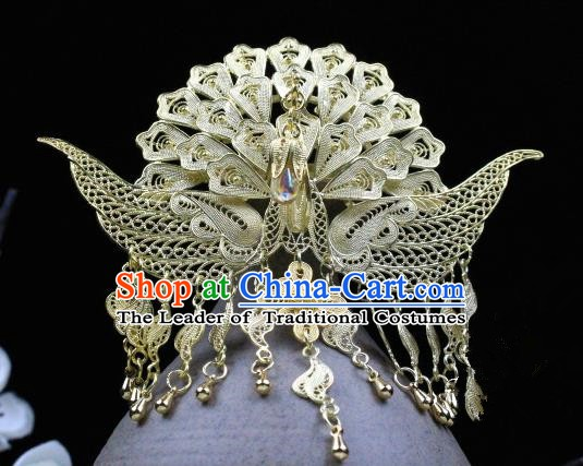 Chinese Handmade Classical Hair Accessories Golden Tassel Phoenix Coronet Hairpins Hair Stick for Women