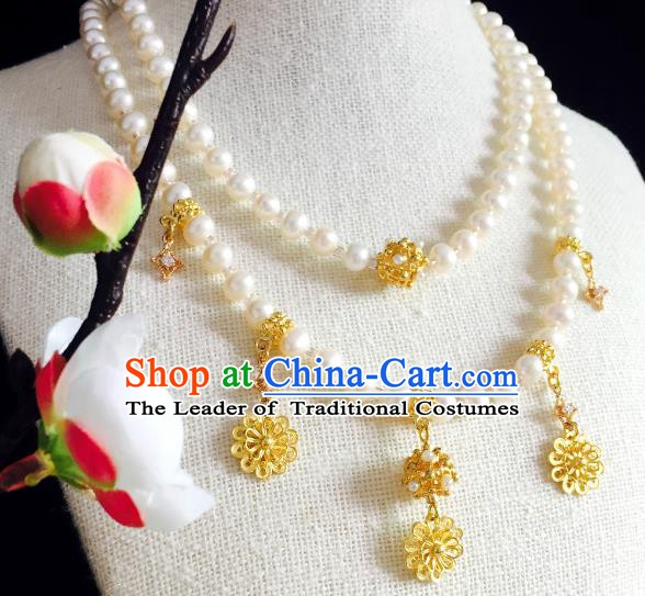 Chinese Handmade Classical Wedding Accessories Princess Golden Tassel Necklace Hanfu Pearls Necklet for Women