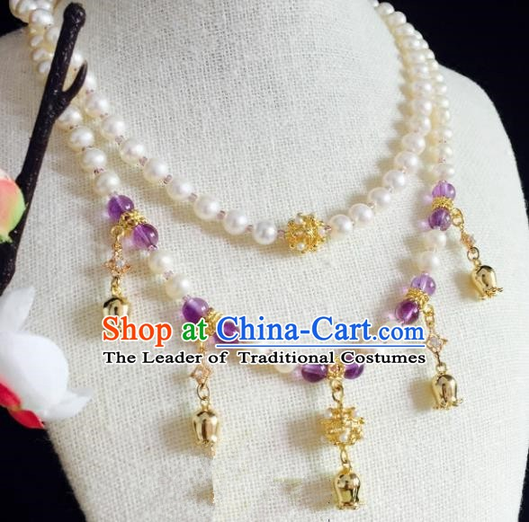 Chinese Handmade Classical Wedding Accessories Princess Purple Beads Necklace Hanfu Pearls Necklet for Women