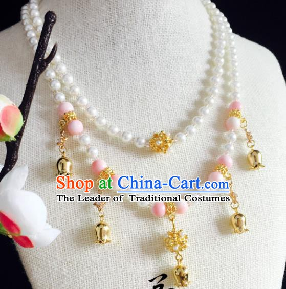 Chinese Handmade Classical Wedding Accessories Princess Pink Beads Necklace Hanfu Pearls Necklet for Women