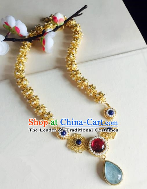 Chinese Handmade Classical Accessories Golden Earrings Hanfu Blue Crystal Eardrop for Women