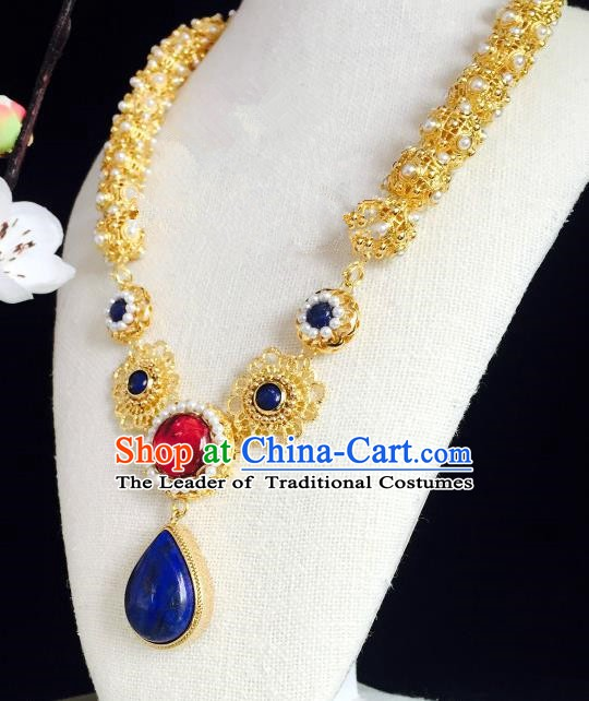 Chinese Handmade Classical Accessories Golden Earrings Hanfu Royalblue Crystal Eardrop for Women