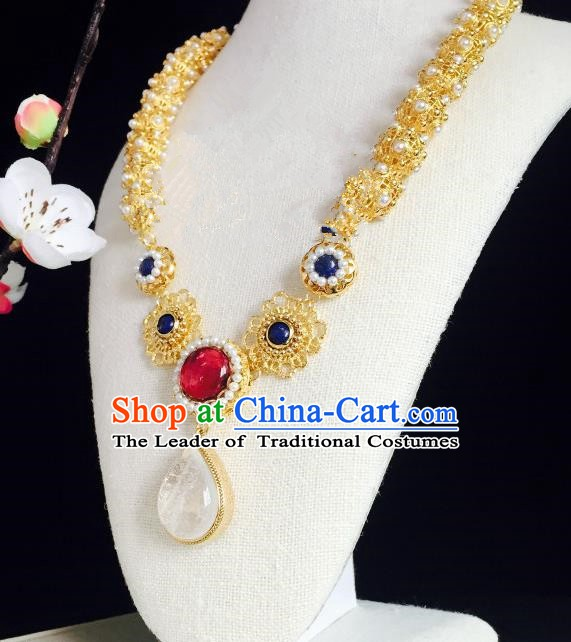 Chinese Handmade Classical Accessories Golden Earrings Hanfu White Crystal Eardrop for Women