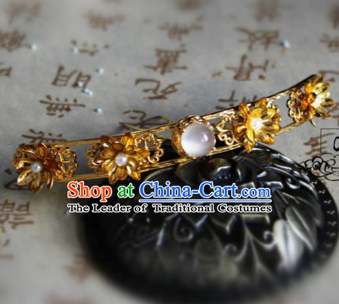 Chinese Handmade Classical Hair Accessories Golden Lotus Hairpins Hair Stick for Women